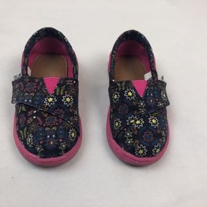 TOMS Floral Slip On Sneakers Toddler Girl Size 7